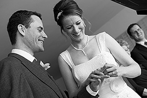 wedding photograph during wedding ceremony at Watergate Bay Hotel