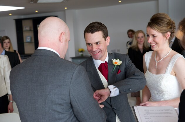happy bride and groom during their wedding ceremony