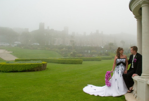 wedding photography at Tregenna Castle - misty weather
