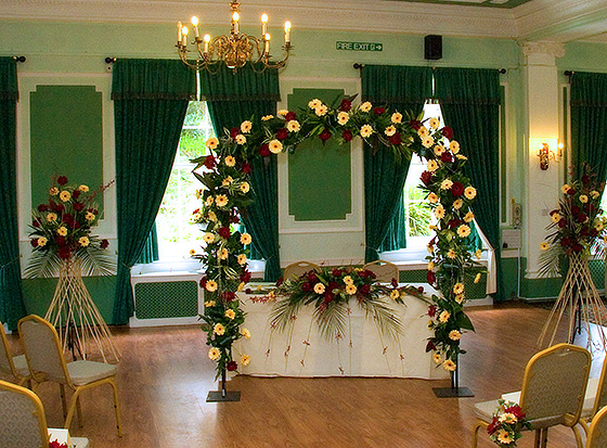 civil ceremony venue decorated with wedding flowers
