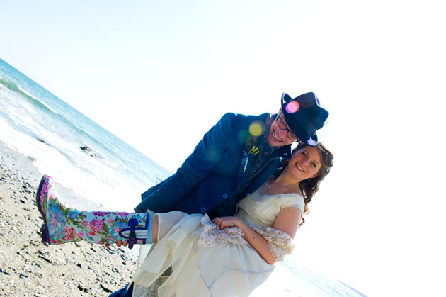 bride shows of her colourful wellies