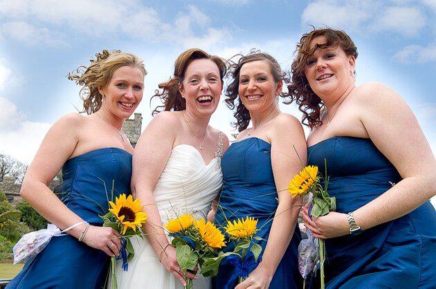 wedding group in Cornwall of bride and bridesmaids