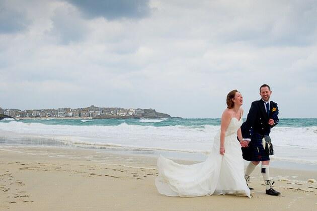 beach wedding photograph by Cornwall photographers Shah Photography