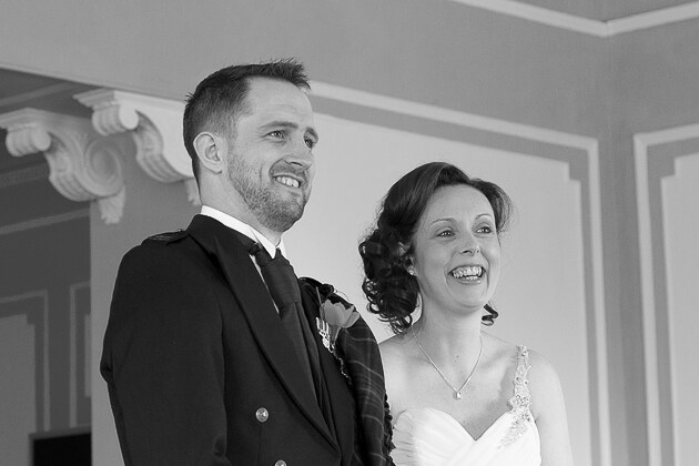 black and white wedding photograph of bride and groom during their Cornwall ceremony at St Ives