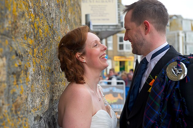 photographers Cornwall photo of bride and groom in St Ives on their wedding day