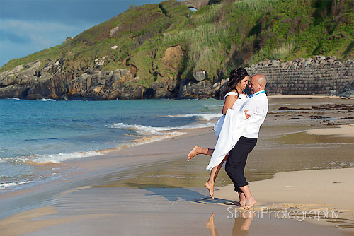 beach wedding photograph at St Ives Cornwall