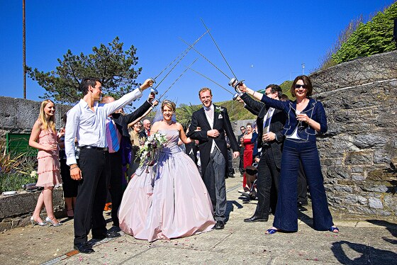 After the wedding ceremony a drinks reception was held on the roof of Polhawn Fort