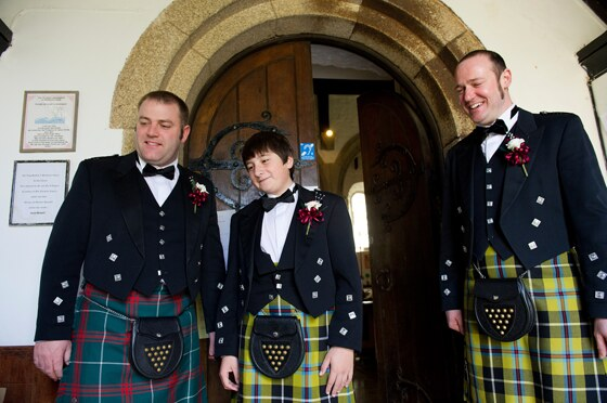 Kilts were the order of this wedding day for the guys