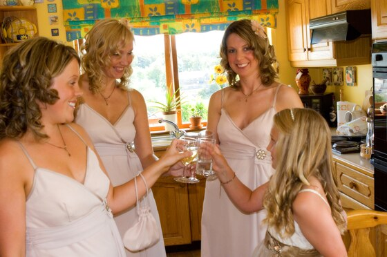 Bridesmaids photographed before the wedding ceremony
