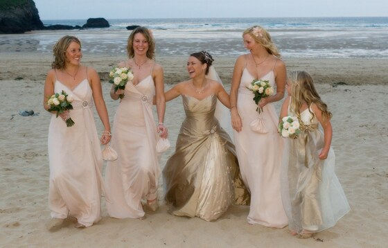 Beach wedding photograph taken on Mawgan Porth beach near Bedruthan Steps Hotel