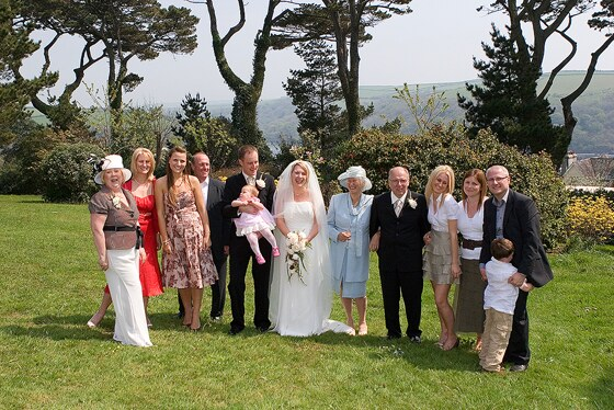 The spacious grounds at wedding venue Fowey Hall are great for group photographs