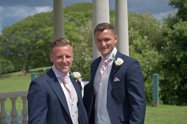 st ives cornwall wedding photographer groom and bestman