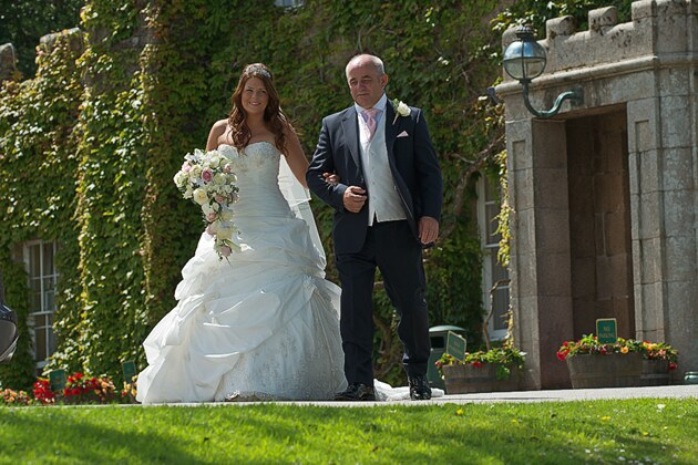 bride and father wedding photographer Tregenna Castle st ives cornwall
