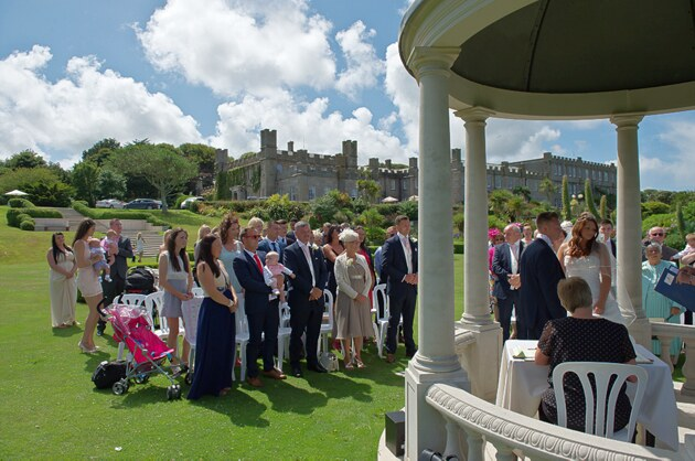outdoor wedding scene Tregenna Castle St Ives