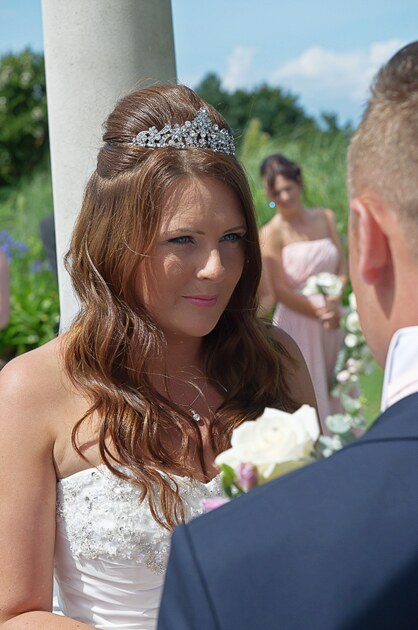 bride during her wedding ceremony at St Ives in Cornwall