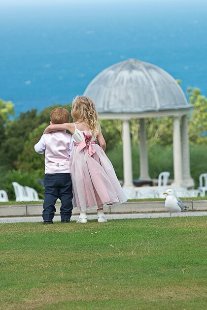 page boy and flower girl by wedding photographer st ives