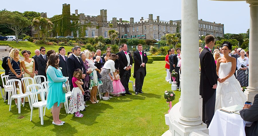 Outdoor wedding ceremony at Tregenna Castle