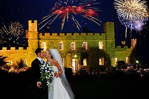 wedding fireworks over Tregenna Castle