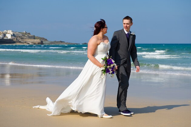 bride and groom photographed on Porthminster Beach St Ives