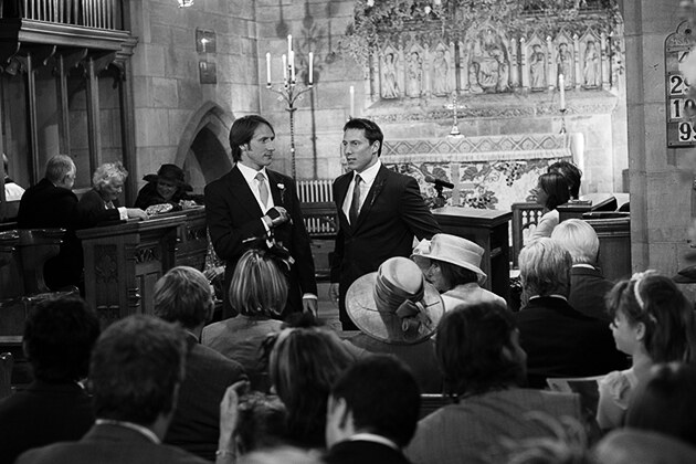 groom and best man before the ceremony in church