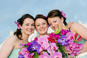 Bride, Anna photographed with her bridesmaids, her sisters