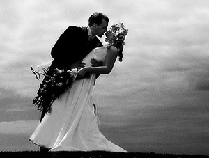 black and white wedding photograph of bride and groom