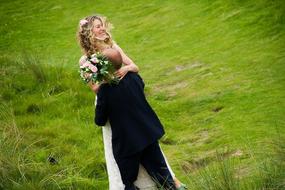 bride and groom at Gwithian Sand dunes, Hayle
