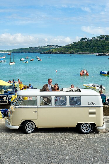 VW camper St Ives Bride and Groom