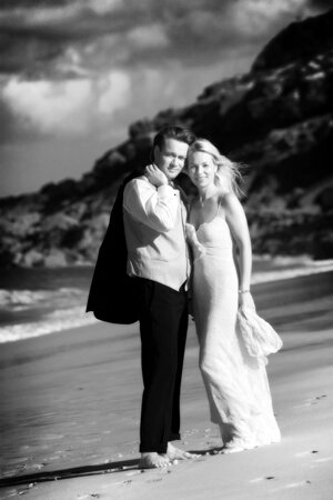 Wedding photograph taken in Cornwall on Porthminster beach St Ives
