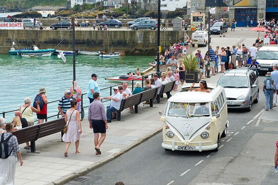 VW Camper takes bride to her wedding in St Ives photograph by Shah Photography