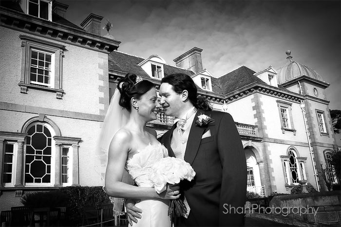 Wedding photograph of Kate and Phillip after their wedding ceremony at Fowey Hall Hotel