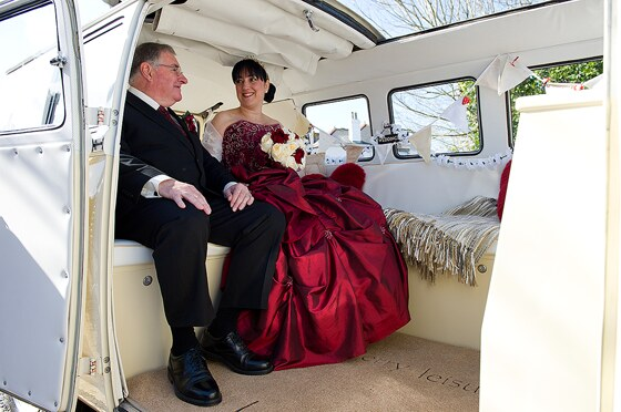 Bride and father in VW Camper van from Strawberry Leisure