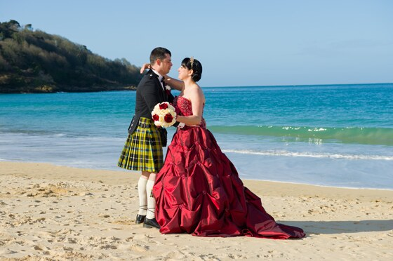 Beach wedding photograph Carbis Bay Hotel, St Ives
