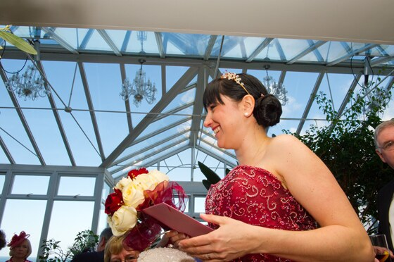 wedding photograph in the conservatory Carbis Bay Hotel