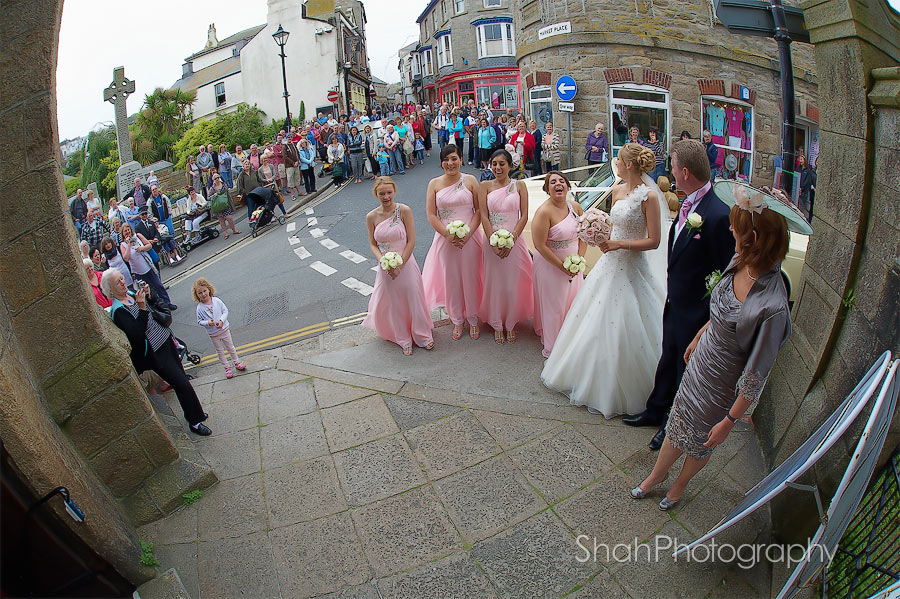 Crowds gather for the bride's arrival at St Ives Prish Church